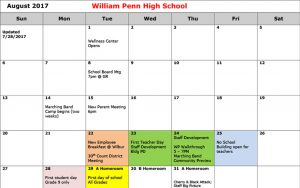 Penn Calendar.Wp School Calendar 2017 2018 William Penn High School